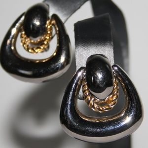 Beautiful silver and gold clip on earrings